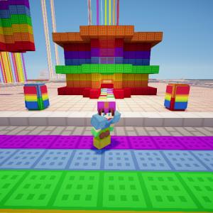 Una selfi to' chida con mi construcción de la casita multicolor n.n :v